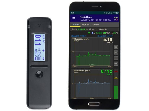 Detector of ionising radiation + Gamma Spectrometer RadiaCode — 101, works with Android & Google Maps